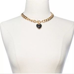 New Trendy Women Cuban Choker Chain Crystal Heart
